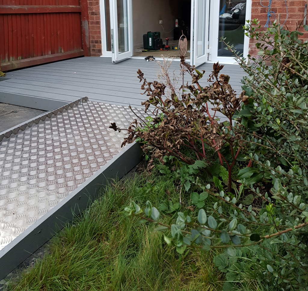 Easy access patio and wheelchair ramp installed in Tamworth garden for mobilty 1