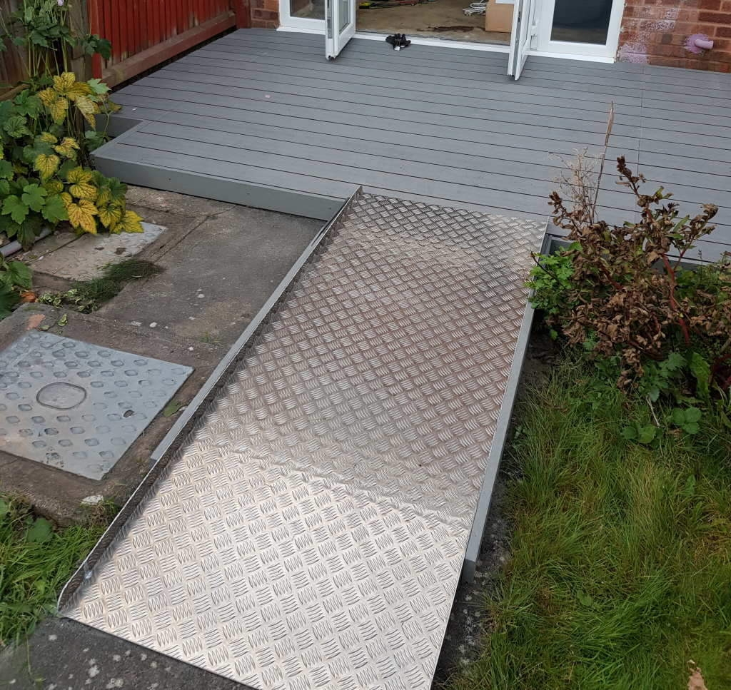 Easy access patio and wheelchair ramp installed in Tamworth garden for mobilty 2