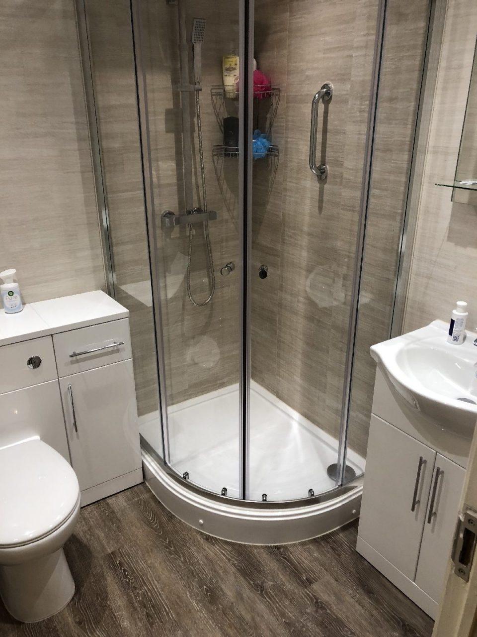 Walk in easy access shower