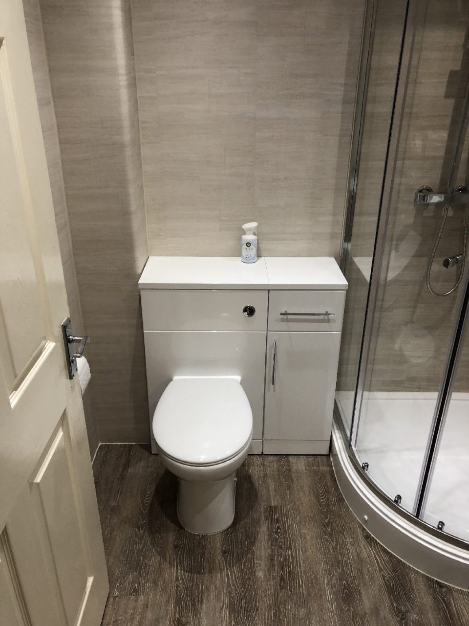 Full Bathroom renovated - bath replaced by easy access shower enclosure - B