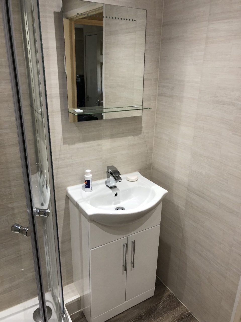 Full Bathroom renovated - bath replaced by easy access shower enclosure - C