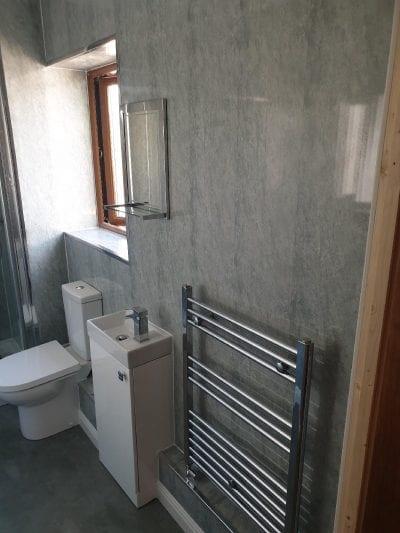 New Bathroom Mrs Wootton in Birmingham Ensuite with chrome radiator