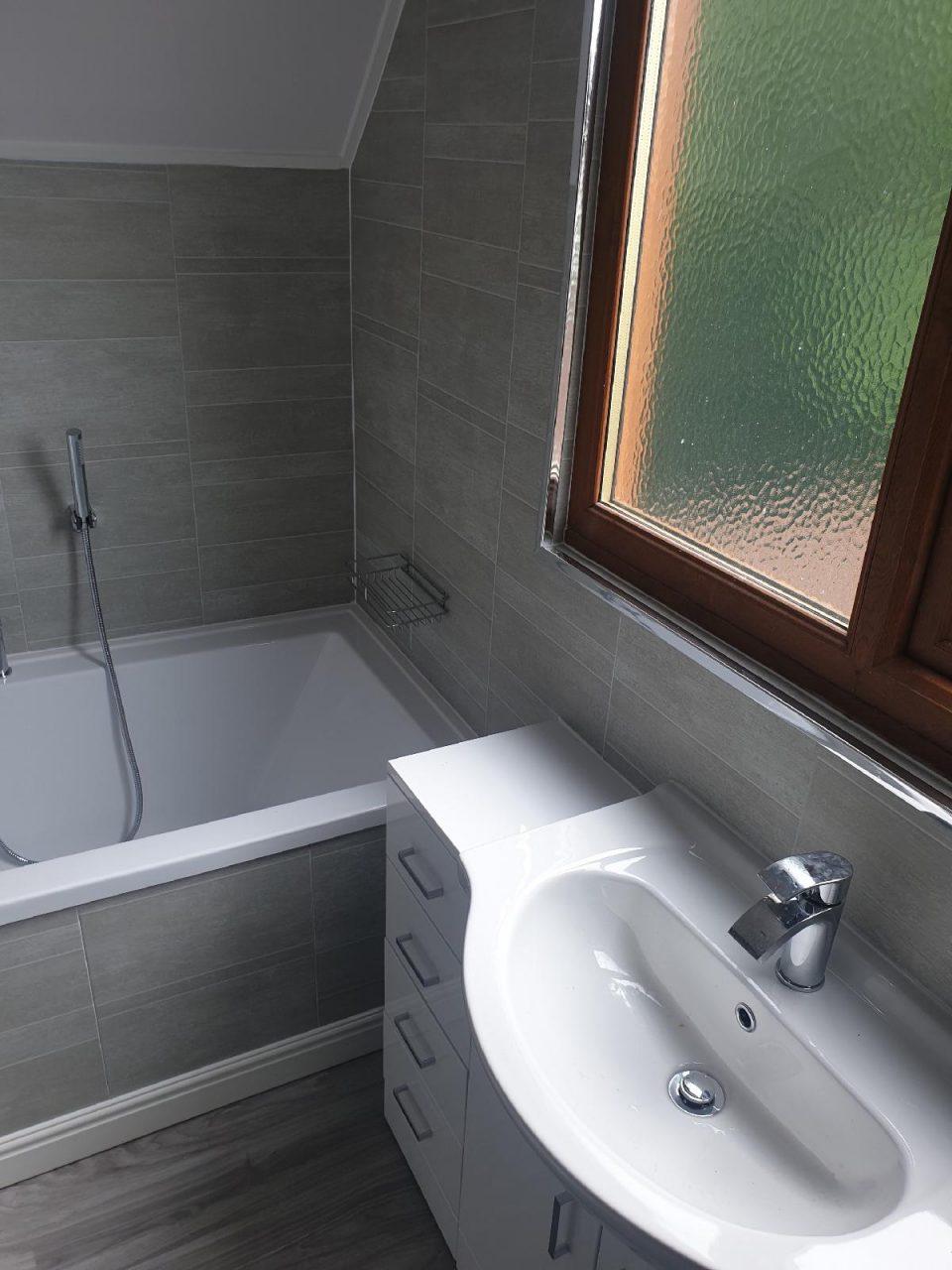 New Bathroom Mrs Wootton in Birmingham Sink Built into Unit