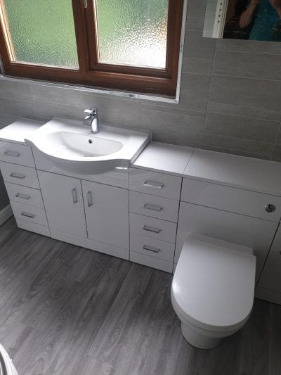 New Bathroom Mrs Wootton in Birmingham Sink and Toilet with built in Unit