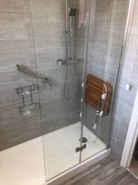 Replace Bath with Easy Access Mobility Walk in Shower Plumber installer in Birmingham B36 for Yvonne
