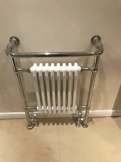 High quality chrome radiator installed as part of bathroom refit