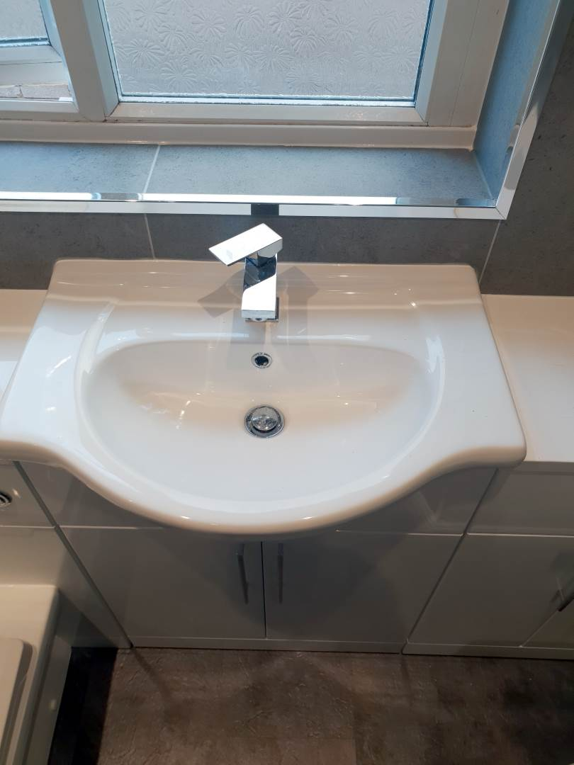 Walk in Shower and bath Complete bathroom renovation - Easy Access Sink