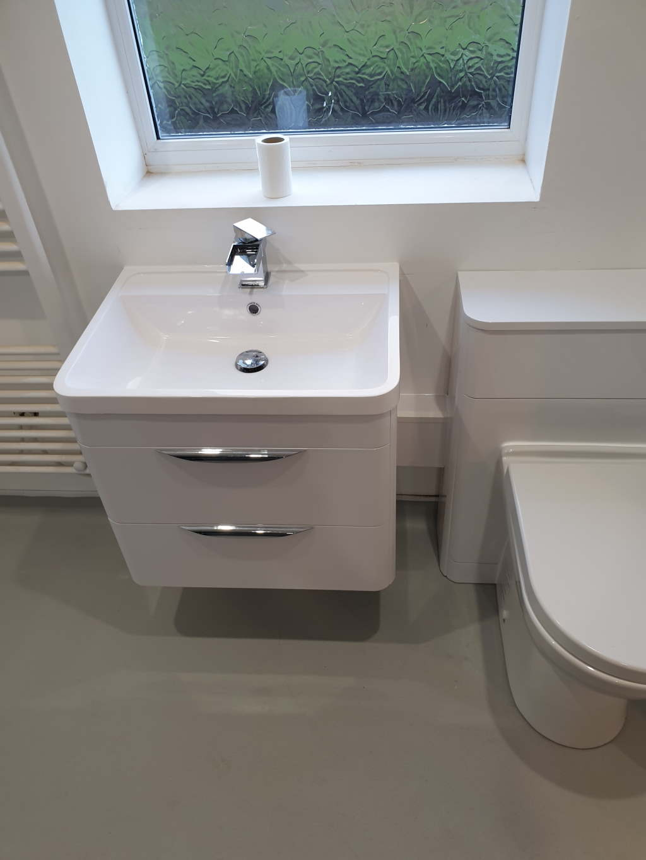 Wetroom Off floor Bathroom Floating sink Unit Mrs Alvery Nottingham